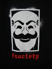 Mr Robot fsociety Mask Graffiti Mens XL Black T-Shirt New Loot Crate Exclusive