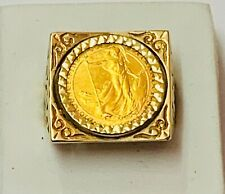 """More details for """"1/10 britannia .999 fine gold coin ring in 9ct solid gold mount"""" heavy 9.6g"""