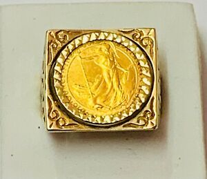 """""""1/10 Britannia .999 Fine Gold Coin Ring in 9ct Solid Gold Mount"""" Heavy 9.6g"""