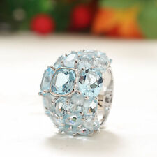 92.5 Solid Sterling Silver Geniune Swiss Blue Topaz Desinger Ring Pd-79
