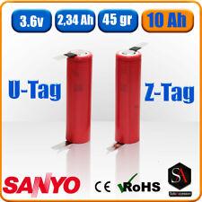 Batteria ricaricabile 18650 al litio li-ion 3.6v 3.7v SANYO 2340mAh a saldare