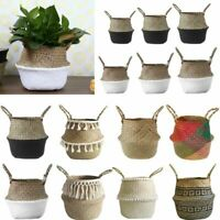 Woven Storage Flower Plants Seagrass Wicker Basket Straw Pots Home Garden Decor