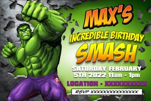 HULK Digital Invitation Childrens Birthday Party Invite