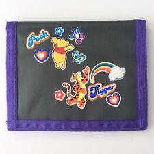 Disney Winnie The Pooh Nylon Bifold Wallet Tigger Green Purple Trim Sticker Look