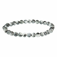 Unique Black Hair Quartz Men's Gemstone Bead Bracelet by Urban Male