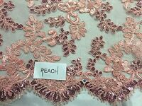 Lace Fabric Embroidered Corded Flowers With Sequins On A Mesh Peach By The Yard