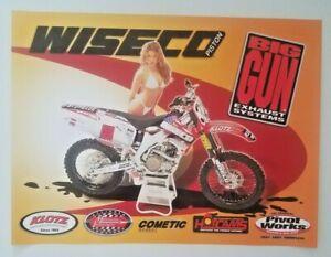 Wisco Piston Big Gun Exhaust Systems Poster Honda CR Motocross Supercross White