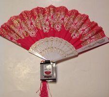 Folding Oriental Hand Fan Pink with Gold Flowers