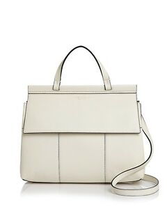 NWT Tory Burch Block T Leather Satchel Ivory $495