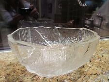 "Hoya Crystal Bowl Footed 8-1/2"" Mid-Century/Modern Carved Ice Design EUC"