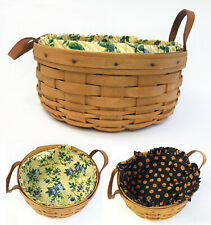 "Longaberger 1996 10"" Basket, Rose Trellis & Halloween Pumpkin Liners & Protector"