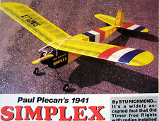 Vintage SUPER SIMPLEX Classic 1941 PLAN + Articles for FF or RC Model Airplane