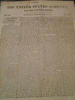 """""""The United States Gazette"""" July 14, 1813 . Content: War of 1812, Gaston Speech"""