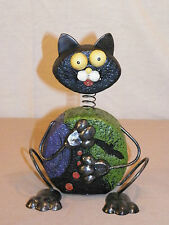 "NEW HALLOWEEN BIG EYED BOBBLE HEAD PICASSO KITTY CAT STATUE FIGURE 8.5"" TALL"