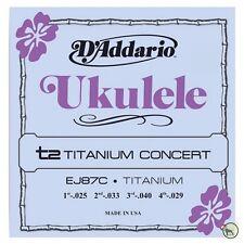 D'Addario EJ87C T2 Titanium Concert Ukulele Strings (25, 33, 40, 29) GCEA Tuning