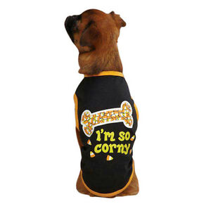 Casual Canine I'M SO CORNY Glow in the Dark Halloween Dog Tee Shirt CLEARANCE