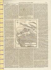 1869 mappa ~ pianta della città e porto interno di Ismailia ~ illustrated London news