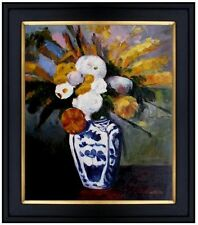 Framed, Paul Cezanne Dahlias Repro, Hand Painted Oil Painting 20x24in