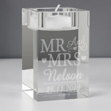 Personalised Engraved Bride Groom Mr and Mrs Glass Tealight Holder  Wedding Gift