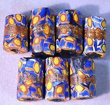 Rare Antique Venetian Millefiori Italian African Trade Beads GOLD Center Stripes