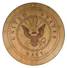 "Totally Bamboo Navy Serving Board Plaque 12"" Official USA Military Seal Etched"