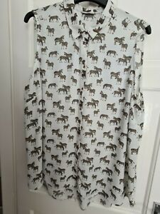 George Ladies White Zebra Print Sleeveless Blouse Size 24