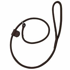 NEW HAND-MADE LOOP BROWN SOFT LEATHER DOG LEASH LEAD TRAINING SLIP ROLLED STRONG