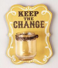 Small Rustic Wooden Plaque Change Keeper Holder Hangs On Wall.