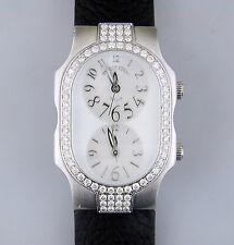 Philip Stein Teslar Chip 72 Diamond Bezel Steel Watch Dual Timezone MOP Oprah