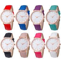 Fashion Men Women's Leather Watch Stainless Steel Analog Quartz Wrist Watches AU