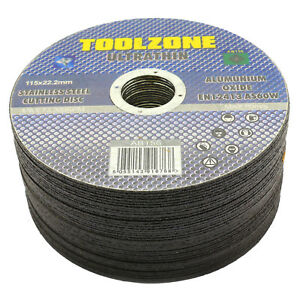 """Toolzone Ultra Thin Cutting Discs 4 1/2"""" 115mm x 22.2mm (PACK OF 50) AB156"""