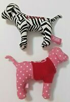 Victoria Secret Lot of 2 Pink Dogs Black White Zebra Pink Polka Dot Plush Animal