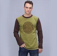 Men's Psy Hippy Long Sleeve  Cotton Festival T-shirt Hippie Print