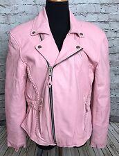 Womens Pink Braided Leather Motorcycle Biker Zipper Jacket Sz XS