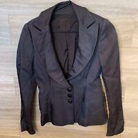 Alessandro De Benedetti Italian Designer Metallic Gray Black Blazer Sz M