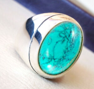 925 Sterling Silver Overlay Plated Tibetan Turquoise Gemstone Boys Mens Ring