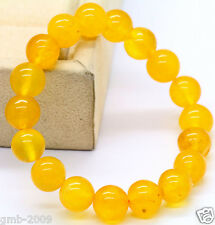 Handmade 10mm Natural Yellow JADE Jadeite Round Bead Beads Stretch Bracelet