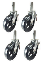 """4 pcs Scaffold Caster 8"""" x 2"""" Black  Wheels w/ Locking Brakes 1-3/8""""  2000 lbs."""