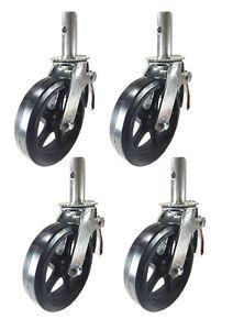 """4 pcs Scaffold Caster 8"""" x 2"""" Black  Wheels w/ Locking Brakes 1-1/4""""  2000 lbs."""