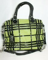 Badgley Mischka American Glamour Handbag Purse Black Patent Lime Green  Leather