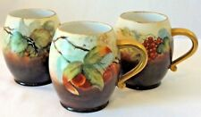 A.K. Limoges France Hand Painted Set of 3 Apple/Cherry/Grape Mugs - Early 1900s