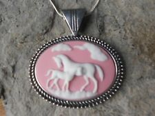HORSE AND FOAL CAMEO NECKLACE - HORSE LOVERS GIFT - PINK - HORSE COLLECTOR