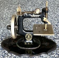 Rare Antique Cast Iron Miniature SINGER Sewing Machine on Timber Base  c.1900