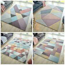 MODERN ADA GEOMETRIC SOFT HAND CARVED PASTEL MULTI COLOURS RUG & RUNNER