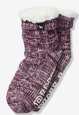 VICTORIA'S SECRET PINK SLIPPERS SOCKS LUSCIOUS PLUM SHERPA LINED BOOTIES NEW