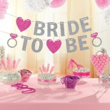 BRIDE TO BE BRIDAL SHOWER GLITTER BANNER BUNTING BACHELORETTE PARTY DECORATION