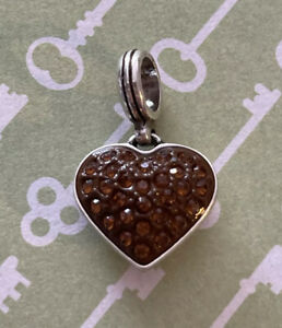 Brighton CUPID'S HEART Deco Brown Crystals Two-Sided Scrollwork Silver ABC Charm