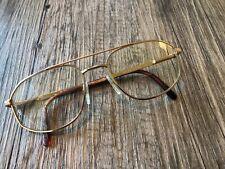 Vtg 70's Marcolin Mens Brushed Gold Metal Eyeglasses Frames 54[]18 145mm