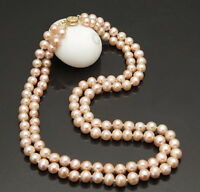 "2 ROWS 7-8MM DOUBLE STRAND PINK AKOYA CULTURED PEARL NECKLACE 18"" JN972"
