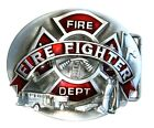 """Fire Department Dept Fire Fighter Belt Buckle Metal With Red Enamel 3 3/4"""" NEW!"""